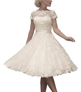 4839f7dfb34 JAEDEN Robe de mariée Court Robe de Mariage Dentelle Robe Nuptiale Femme  Manches Courte