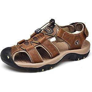 [RAKUJI] スポーツサンダル メンズ アウトドアサンダル 登山サンダル 牛革 水陸両用 通気 防滑 耐久性 速乾 サンダル メンズ つま先保護 大きいサイズ 歩きやす