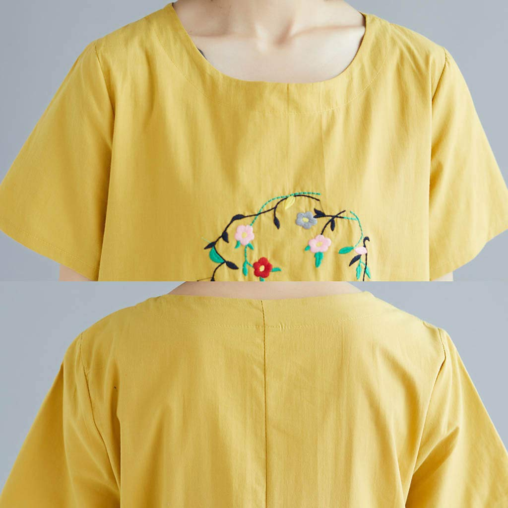Yellsong Loose Embroidery Dress,Retro Casual Embroidery Loose Cotton Linen O Neck Sleeve Dress Women Plus Size Dresses Short Sleeve Cold Shoulder Casual T-Shirt Swing Dress with Pockets by Yellsong-Clothing (Image #4)