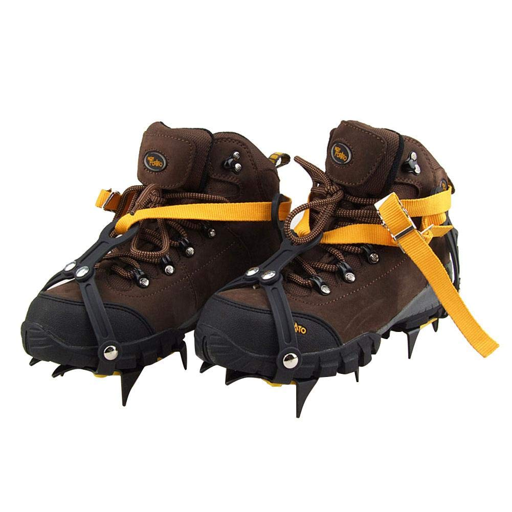 Sue Supply Reinforced 10 Toothed Non-Slip Lacing Manganese Steel Crampons Climbing Shoe Cover with Snowboard Welding Chain Stainless Steel Crampons Outdoor Ski Ice Hiking Climbing Adjustable Length