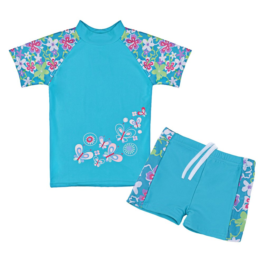 20894c45b1aec Galleon - TFJH E Girls Swimsuit Kids Short Sleeve Swimwear UPF 50+ UV Blue  8-9 Years 10A