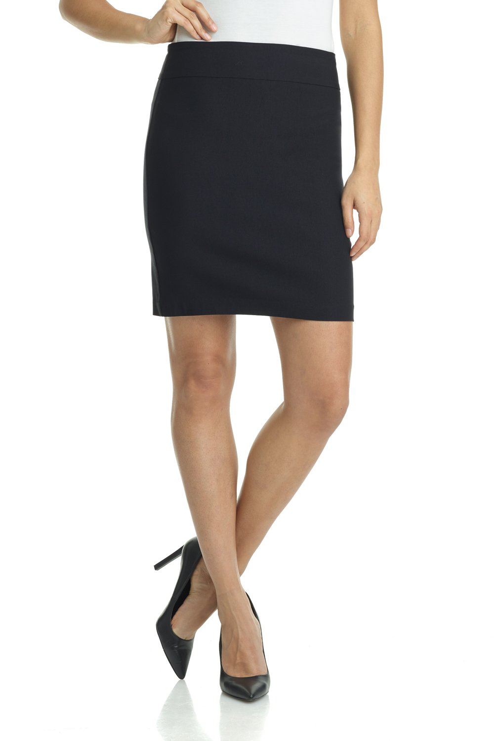 Rekucci Women's Ease In To Comfort Stretchable Above The Knee Pencil Skirt 19'' (Small,Black)