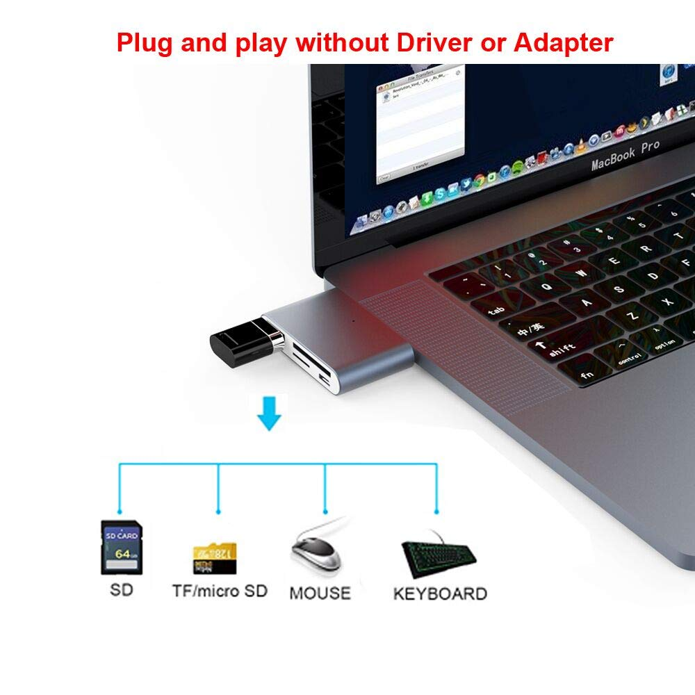 USB C OTG zu USB 3.0 Adapter und Micro USB Anschluss f/ür Typ C Telefone und Mini Hub f/ür USB C Laptop USB C Hub mit SD//TF//Micro SD Kartenleser mit 2 Steckpl/ätzen USB C OTG Adapter