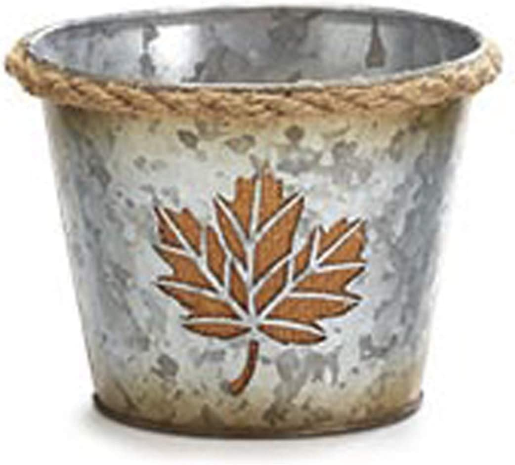 One Holiday Way 4-Inch Rustic Yellow Fall Leaf Galvanized Metal Planter Pot Decoration - Thanksgiving, Autumn Farmhouse Home Decor for Porch, Desk or Table