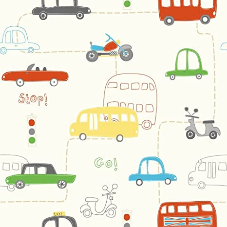HOOPLA VEHICLE TRANSPORT ROAD MAP CHILDRENS BEDROOM 10M WALLPAPER ROLL DECOR ART: Amazon.co.uk: DIY & Tools