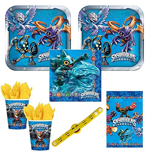 Skylanders Party Pack for 16 guests, cake plates, napkins, cups and tablecover plus free gift
