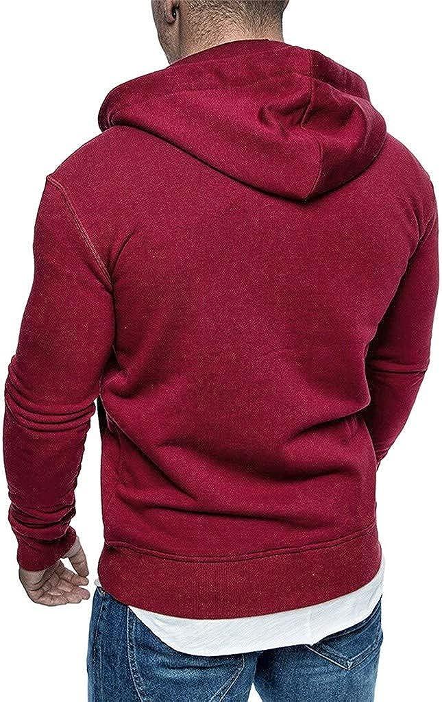 Mens Casual Solid Long Sleeve Zipper Cardigan Hooded Drawstring Sweatshirt Slim Fit Tops with Pocket