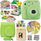 FujiFilm Instax Mini 9 Instant Camera LIME GREEN + EMOJI Film stickers + Fuji INSTAX Film (20 Sheets) + Custom Fitted Case + Instax Album + Colorful Stickers + Fun Frames + 4 Colored Filters + MORE