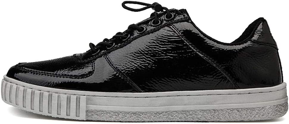 SHENTIANWEI Lightweight Breathable Genuine Leather Board Shoes for Men Comfortable Fashion Outside Sneakers Anti-Slip Mat Lace Up Round Toe Low Top Black