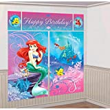 "Disney Ariel Little Mermaid Birthday Party Scene Setters Decoration (5 Pack), Multi Color, 59"" x 65""."