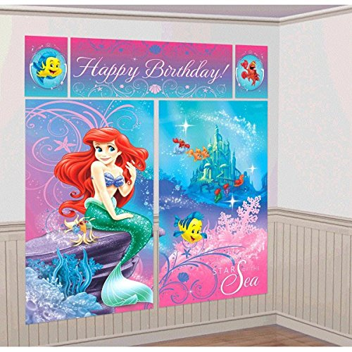 Disney Ariel Little Mermaid Birthday Party Scene Setters Decoration (5 Pack), Multi Color, 59