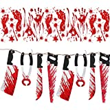 Jovitec Halloween Bloody Decoration, 8 Pieces Bloody Weapon Garland Props and 10 Pieces Bloody Halloween Window Cling Wall Stickers (6 Footprints and 4 Handprints) for Vampire Zombie Party