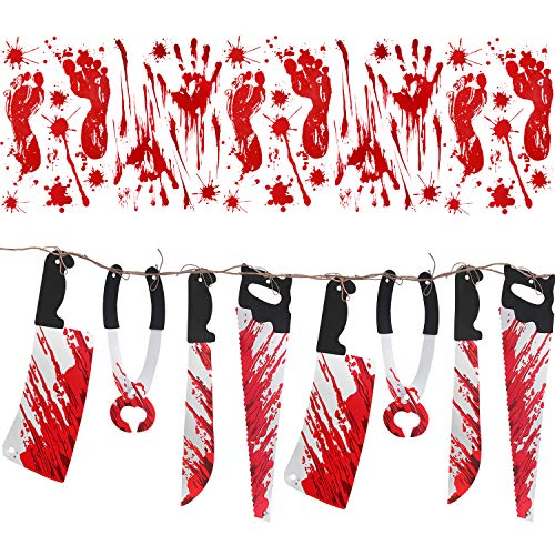(Jovitec Halloween Bloody Decoration, 8 Pieces Bloody Weapon Garland Props and 10 Pieces Bloody Halloween Window Cling Wall Stickers (6 Footprints and 4 Handprints) for Vampire Zombie)