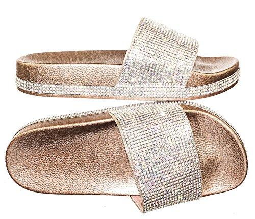 Forever Link Viste-07 Rhinestone Glitter Slide Slip On Flatform Footbed Sandal Slippers...