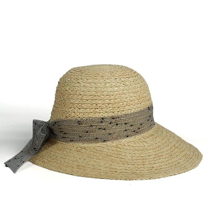 Sombrero De Verano De ala Ancha Sol Ocasional Playa Sombrero De Paja  Elegante Sombrero 2018 Ocio Moda Señoras Protector Solar Sombrero De Pesca  (Color ... 1c27d130a83