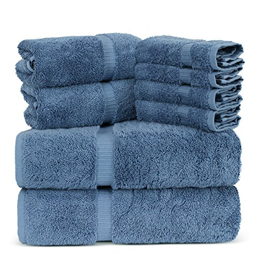 Towel Bazaar Luxury Hotel and Spa Quality Turkish Cotton 8 Pieces Eco-Friendly Kitchen and Bathroom Towel Set (2 x Bath Towels, 2 x Hand Towels, 4 x Wash Cloths, Pink Wedgewood)