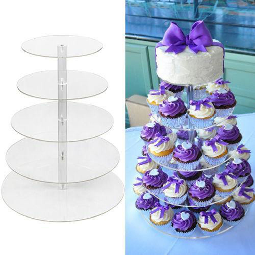 New 5 Tier Round Crystal Clear Acrylic Cupcake Stand, Tiered Cupcake Carrier Tiered Pastry Stand Wedding Display Cake Tower Stand for Wedding Party