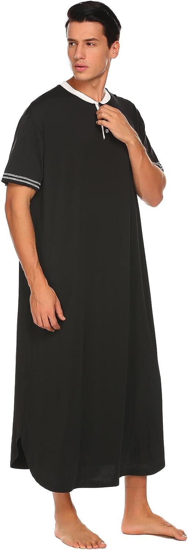 Adoeve Kaftan Night Shirt Mens Nightshirts Henley Sleep Shirt Short Sleeve Sleepwear M-XXXL