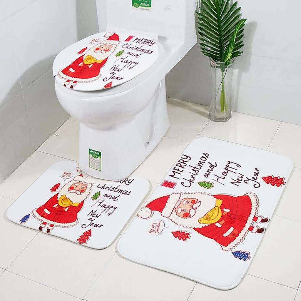 Hacoly Tappetino WC Set Tappetino per Bagno Set Antibatterico Caldo Copriwater Tappetino Toilette Natale Decorazione Universale-Stile 1