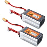 FLOUREON 4S 14.8V 1500mAh 45C Lipo Battery with XT60 Plug for RC Airplane RC Helicopter RC Car Truck RC Boat RC Hobby Drone (2Packs)
