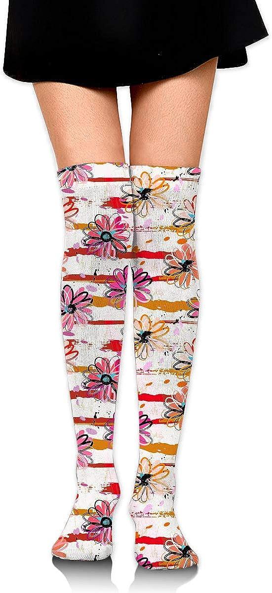 Womens//Girls Strokes And Splashes Flowers Casual Socks Yoga Socks Over The Knee High Socks 23.6