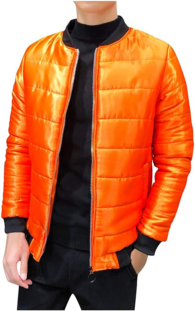 wuliLINL Men Thicken Cotton Coat,Men's Quilted Solid Jacket Long Sleeved Thick Cotton Active Jacket 61V4KR-8kYL