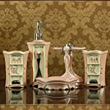 Bathroom European style luxury nobility sets pretty in pink resin with five piece of cover-YU&XIN