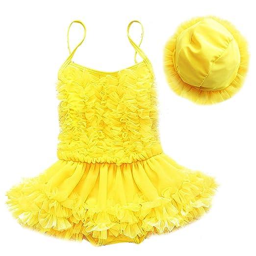 Little Girl Swimsuit with Hat One Piece Ruffle Tulle Skirt Princess Swimwear  Beach Bathing Suit 2PCS 23ca8da4484