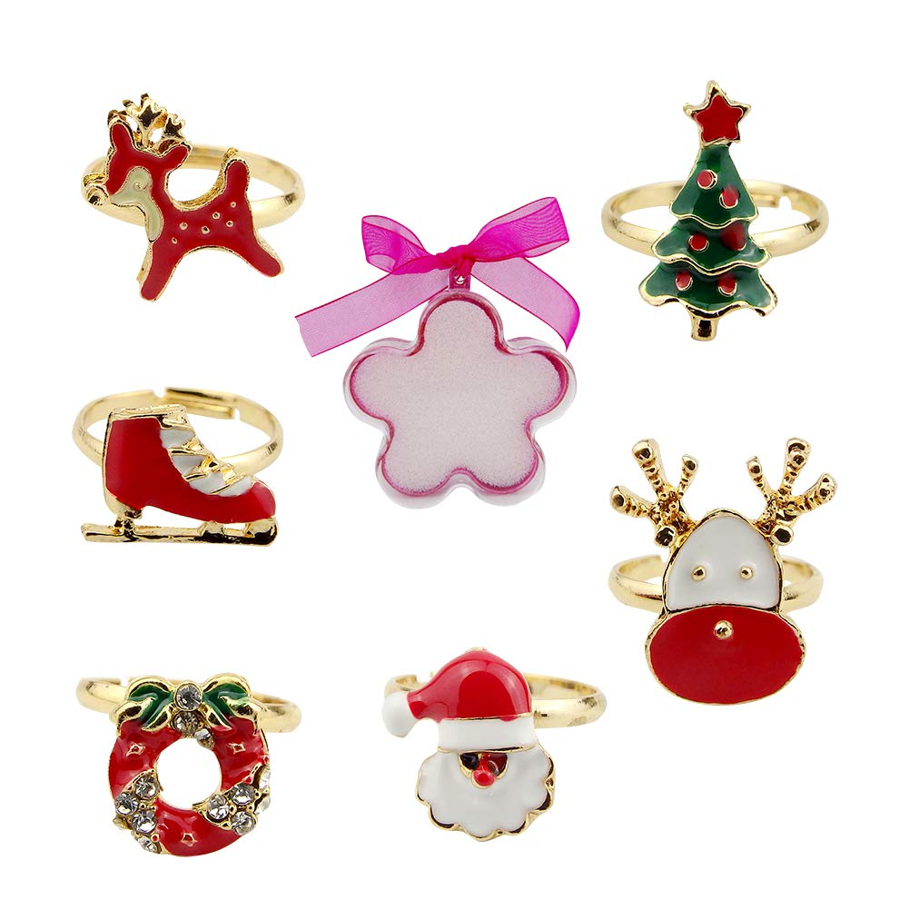 3 kiss Adjustable Cute Rings for Girls Jewelry Set