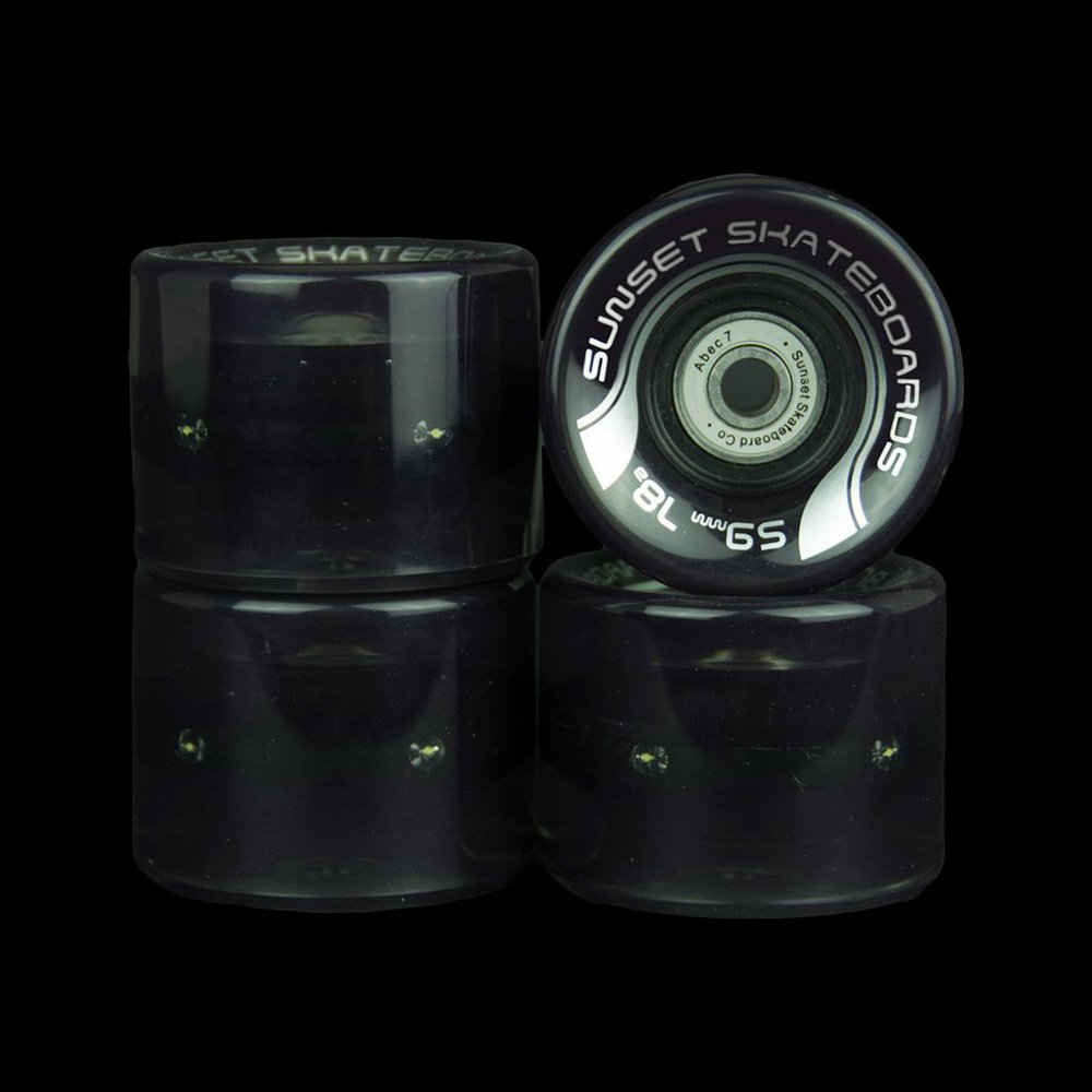 Sunset Skateboards Smoke 59mm Cruiser LED Light-Up Wheels Set with ABEC-7 Carbon Steel Bearings 4-Pack