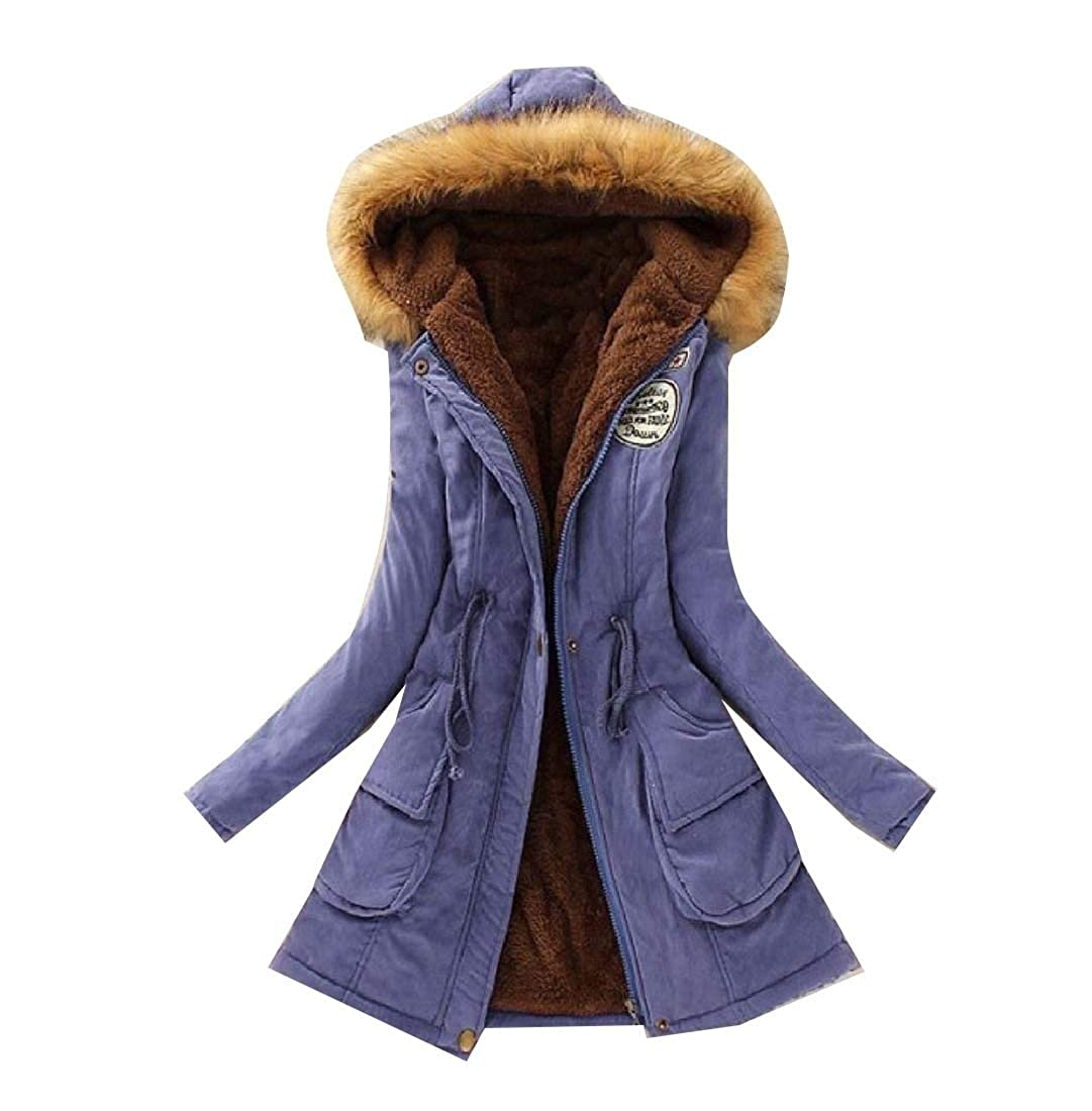 YUNY Womens Overcoat Fur Collar Waist Stylish Quilted Jacket Royal Blue XL