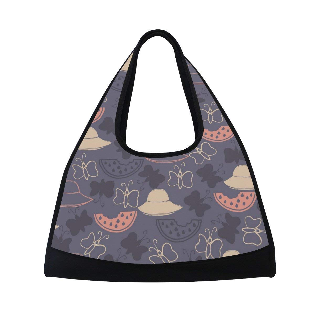 OuLian Sport Gym Bag Butterfly Pattern Canvas Travel Duffel Bag