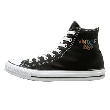 Edgar John Vintage 1966 Unisex Classic High Top Canvas Shoes Fashion Sneaker 35