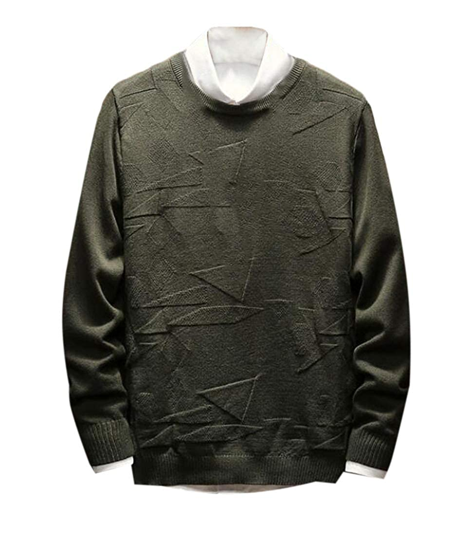 KLJR Men Autumn Slim Fit Knit Long Sleeve V-Neck Pullover Sweaters