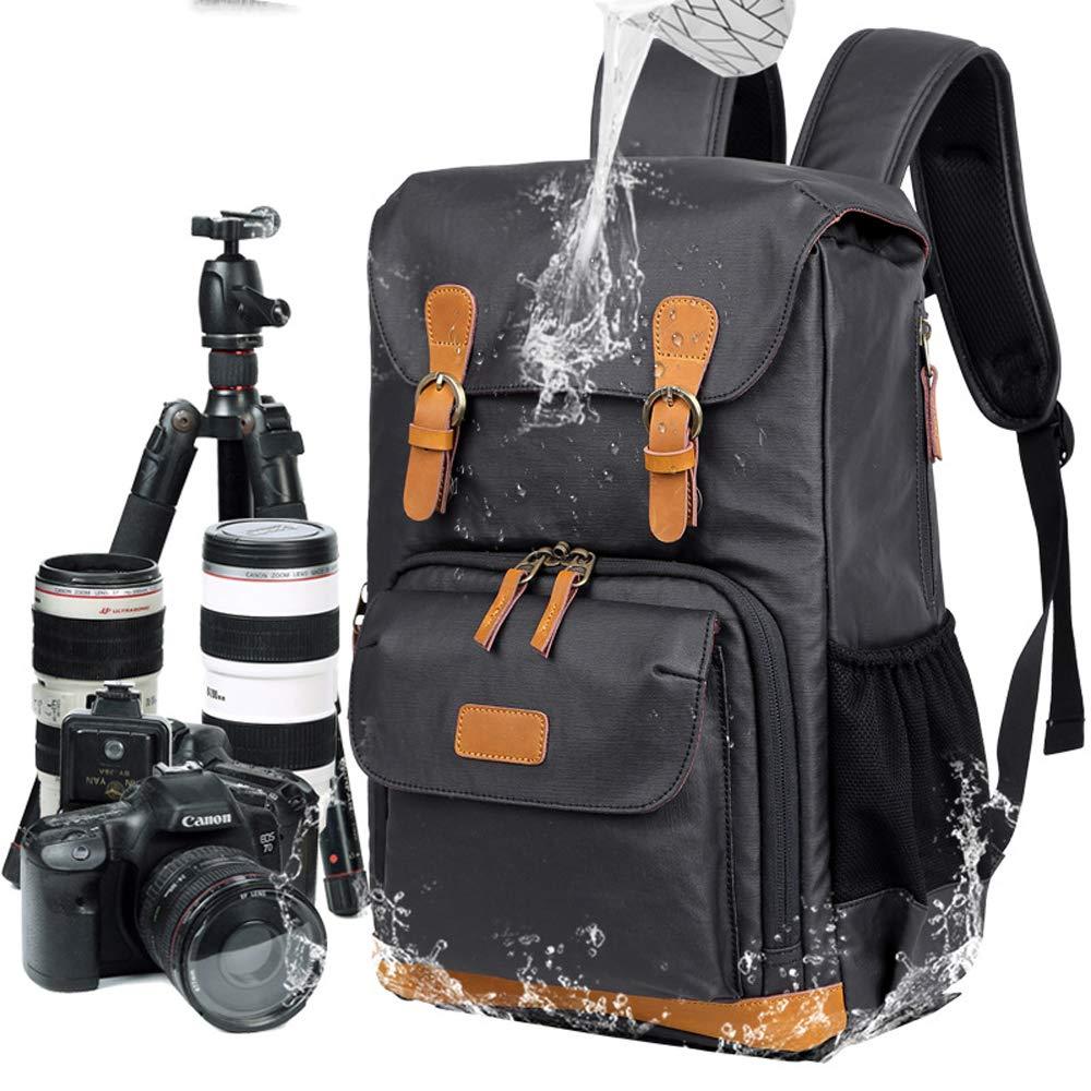 キャンバス カメラ バックパック 防水 アウトドア バックパック、大容量ハイキング収納バッグ、ブラック B07P8C4P4S