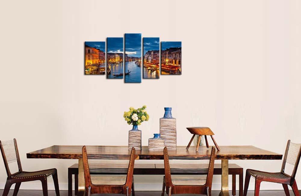 Noir Blanc Et Rouge 5 Panneau Mural Art Peinture Pont Italie Venise Gondole Photos Sur Toile Ville De La Photo Decor Huile Pour Home Decoration Moderne