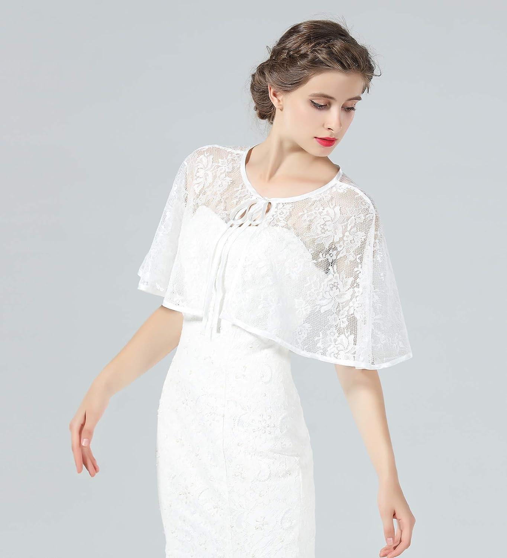 1920s Shawls, Wraps, Scarves, Fur Stoles Lace Cape Wedding Capelet Women Shawl Bridal Cover Up Wrap Bolero for Dress Party $24.99 AT vintagedancer.com
