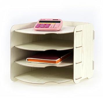 Yumu madera organizador de escritorio y accesorios estanterías para cajas de archivo carpeta revistero organizador con 4 secciones horizontal cy1032: ...