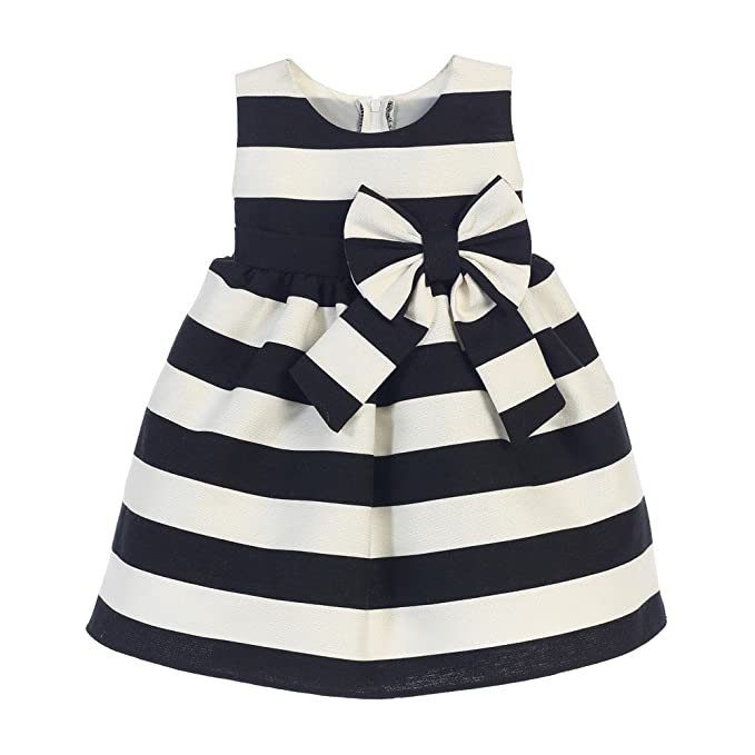 9497423ca Sweet Kids Baby Girls Black White Stripe Ribbon Accent Occasion Dress 18M