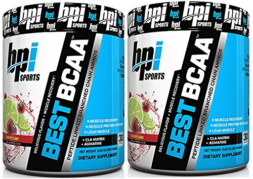BPI Sports Best BCAA Peptide Linked Branched Chain Amino Energy Powder, 10.58oz, Pack of Two 30 Servings (Cherry Lime 2 x 30svg) For Sale