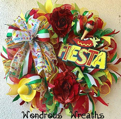 WONDROUS WREATHS Fiesta Decor Wreath with Glittered Fiesta Sign, Yellow Sombrero, Wooden Maraca, Fiesta Ribbons, Deco Mesh-24 Wide ()