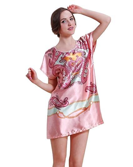 CHENGYANG Mujer Grown Dormir Prendas Rayón Seda Ropa de Dormir Camisón Batas Pijama Rojo Caucho: Amazon.es: Ropa y accesorios