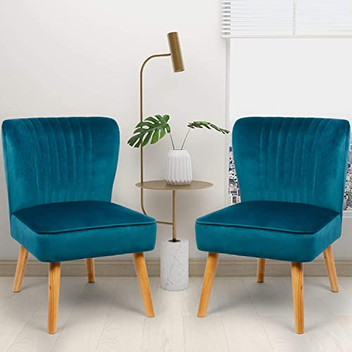 Deal of the week: Modern Small Blue Velvet Armless Accent Reading Sofa Chair Set of 2 Comfy Bedroom Chairs