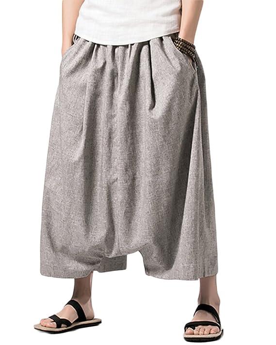 Yonglan Hombres Estilo Chino Pantalones Harem Cagados Ancho Con Entrepierna Talla Única Casual Marengo XL zNhJ35dw6