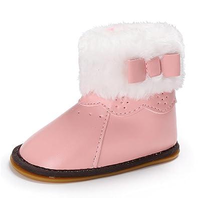 c125a458d4feb8 Igemy 1 Paar Baby Leder Bowknot Gummi Soft Sole Snow Stiefel Soft Crib  Schuhe Kleinkind Stiefel