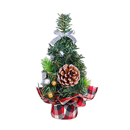 bestoyard tabletop mini christmas tree with christmas ball bowknot pine cone christmas table ornaments decorations 20cm