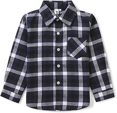 OCHENTA - Camisa de franela a cuadros con botones para niños pequeños y niñas