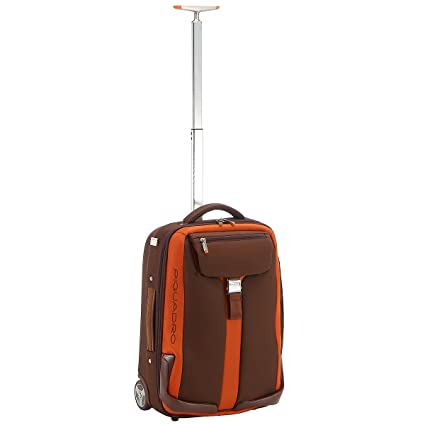 26c1c6228bf538 Piquadro Small size trolley with garment sleeve brown/orange Voyager  BV1381TR/MAR: Amazon.co.uk: Luggage