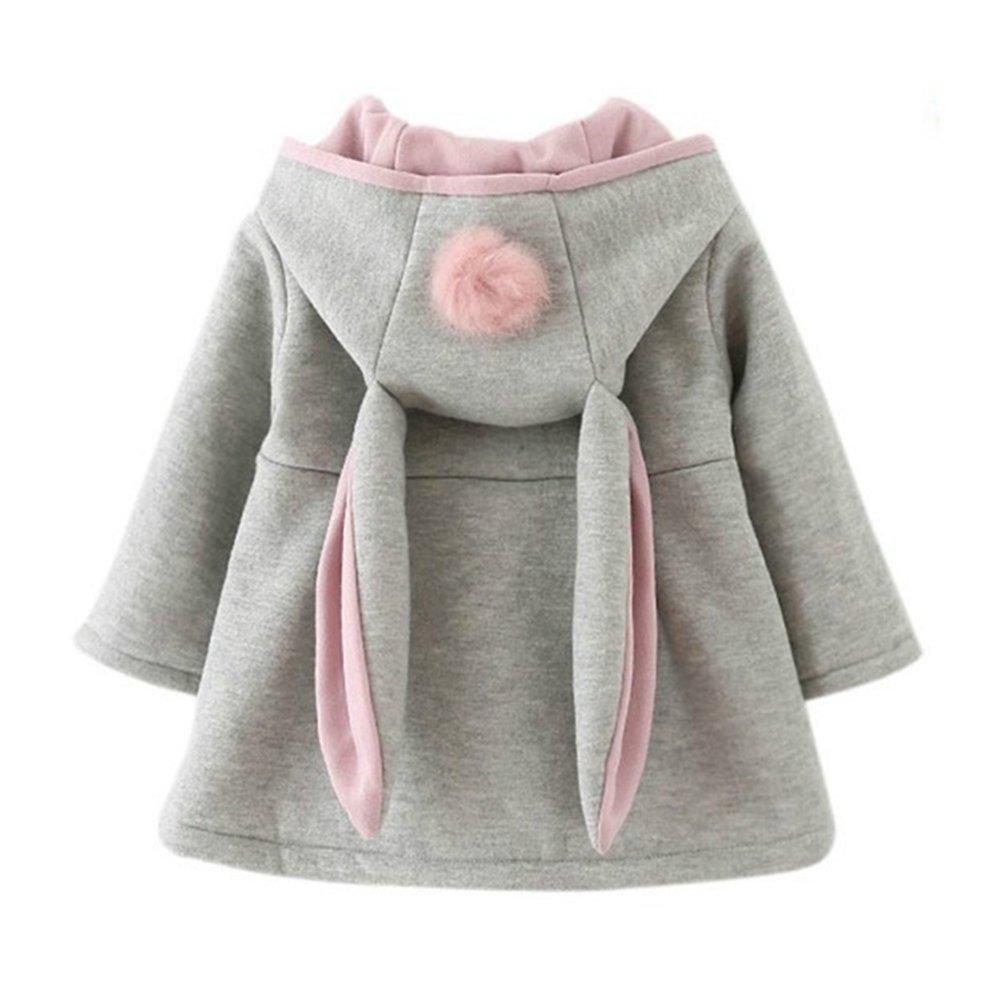 Gemini/_mall Baby Girls Cute Rabbit Ears Cloak Hooded Autumn Winter Warm Coats Jackets Outerwear