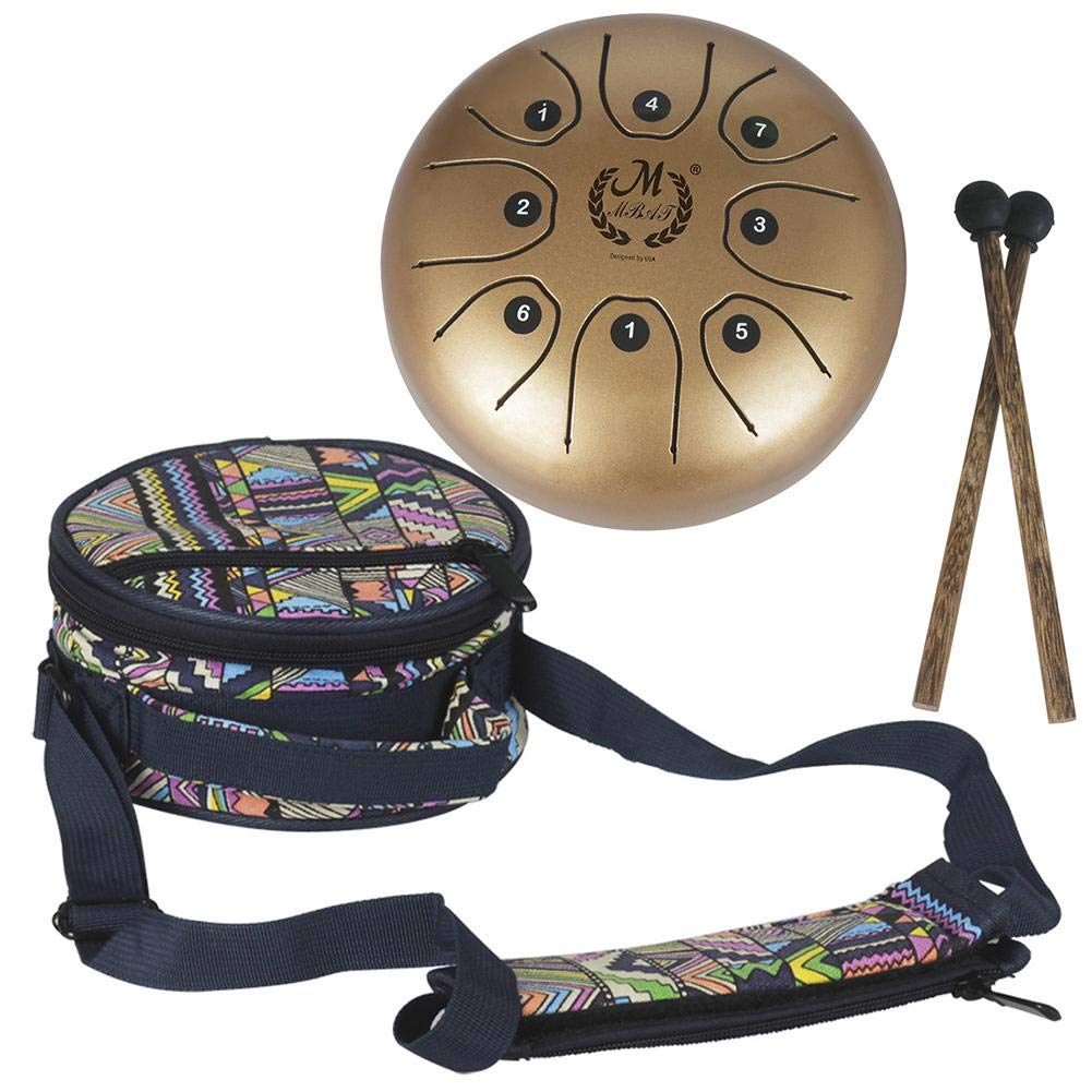 Mmbat/Mebite 5.5 Inch Mini Steel Tongue Drum Mini 8-Tone C Key Percussion Instrument Hand Pan Drum (with 1 Knocking Stick + 1 National Style Drum Bag) Gereton